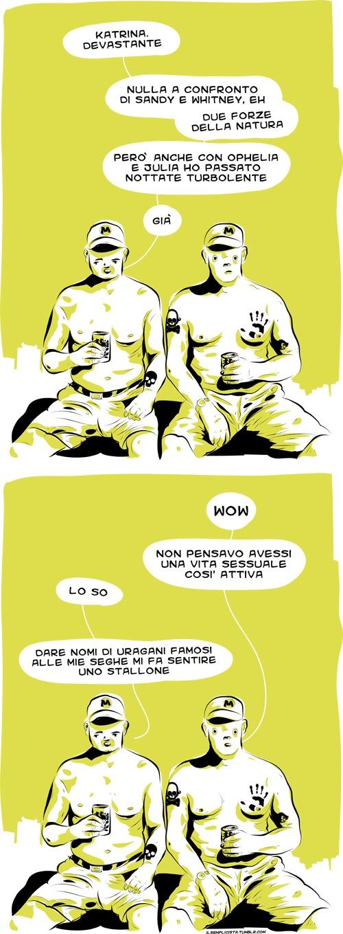 il Semplicista #uragano #katrina #sandy #whitney #forza della natura #ophelia #julia #notte #sesso #onanismo #seghe #stalline #illustration #lol #vignetta #vignette #comic #comics #fumetto #fumetti #giallo #nero #illustrazione #redneck #birra #cappello #petto nudo