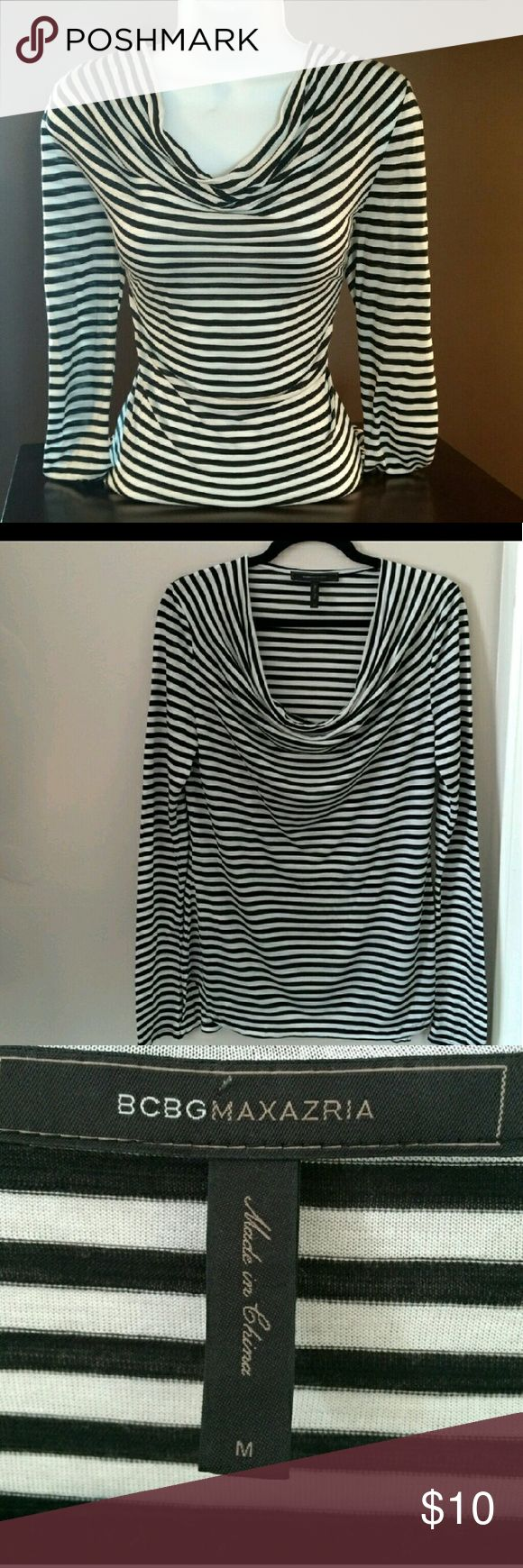 "BCBGMAXAZRIA top Lightweight striped top. Very comfy and versatile. Looks great worn alone, under a blazer or jean jacket. Chest measurement is 34"". The length from shoulder to hem is 29"". In perfect condition BCBGMaxAzria Tops Blouses"