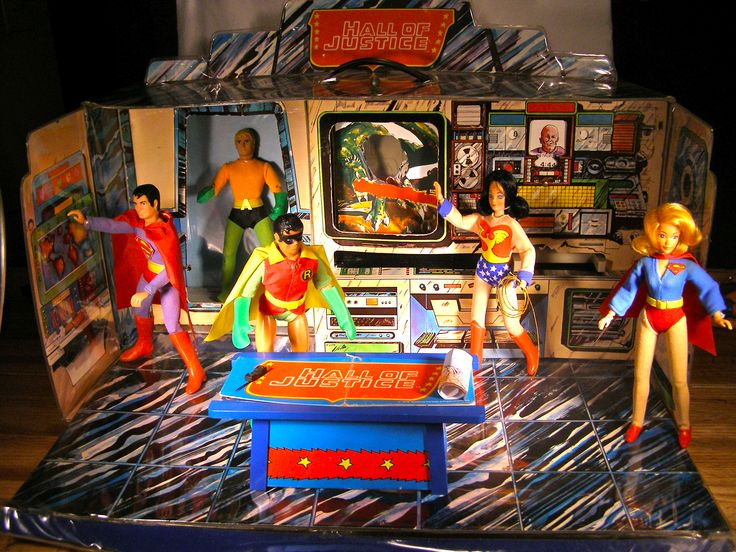 mego playsets | childhood toy's! Mego Hall of Justice playset shown here with Mego ...