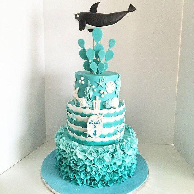 Shamu under the sea birthday cake; ocean theme; seaworld ...