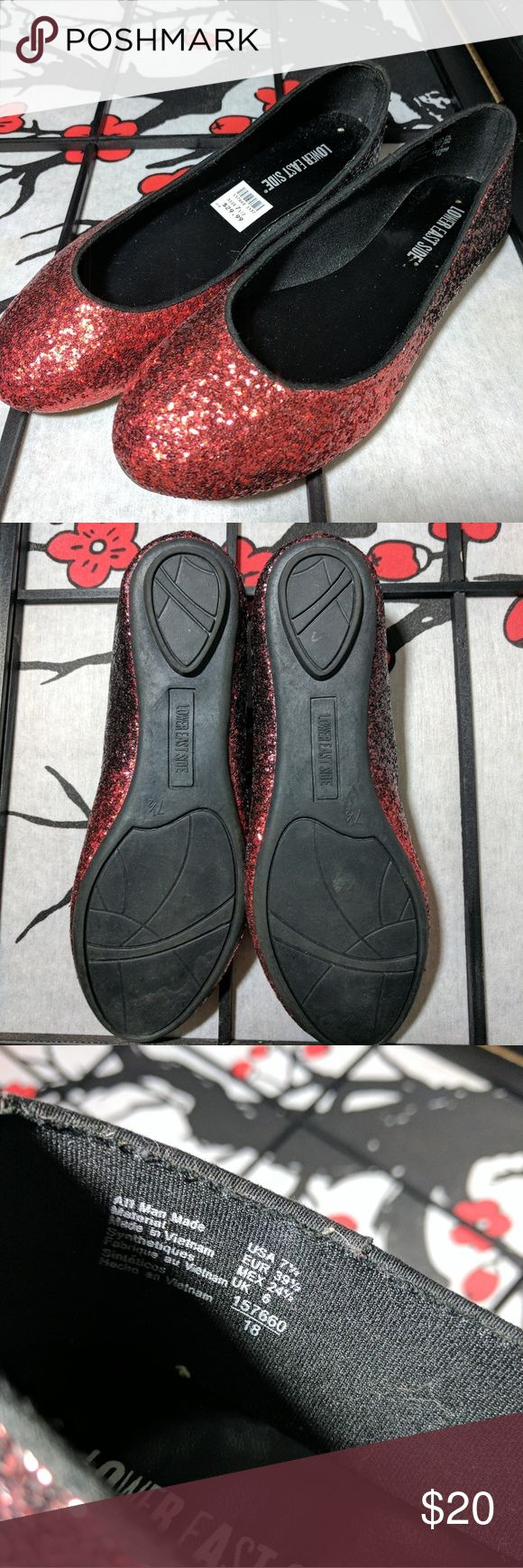 ✴️✴️✴️NWT Super Cute Cherry Red Flats✴️✴️✴️ Lower East Side sparkly flats. All man made material. Never worn, size 7.5  Fits more like a size 7. Thank you for shopping my closet!! Lower East Side Shoes Flats & Loafers
