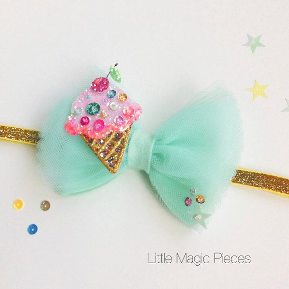 Ice Cream Bow Glitter Headband, Mint Pink Gold, Summer