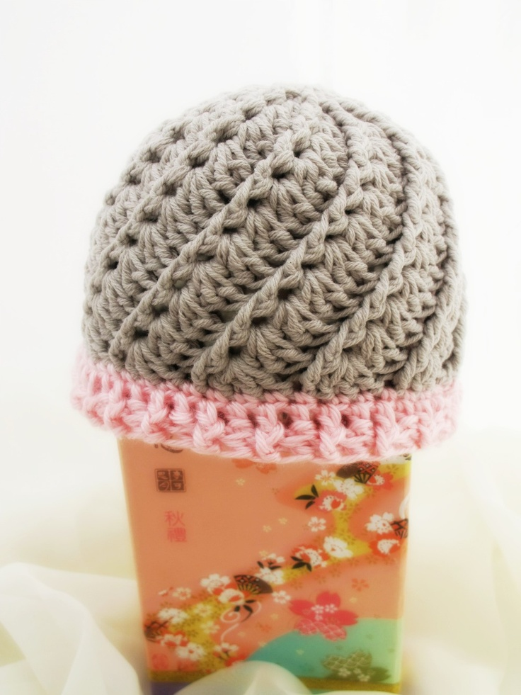 Crocheted Cabled Baby Hat. Gray. Beanie