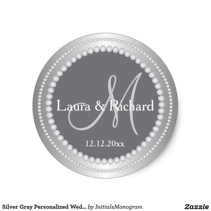Silver gray personalized wedding monogram seals monogram stickerswedding monogramsround