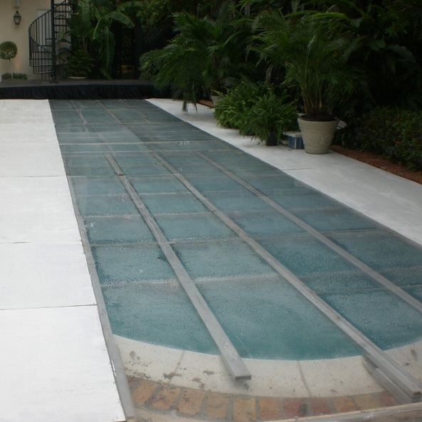 Clear acrylic and plywood pool cover