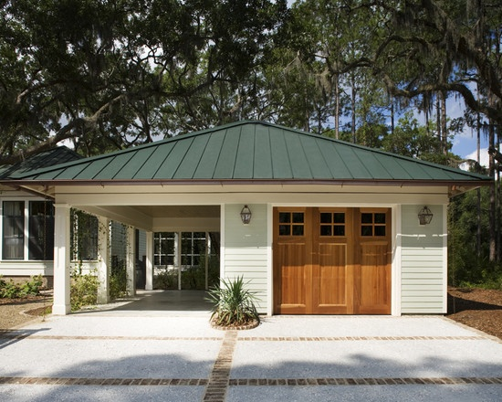 159 best garages carports images on pinterest car for Detached garage with carport