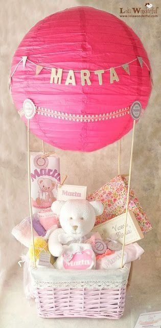 Hot air balloon gift basket girly cute pink gifts baby shower baby boy baby shower gifts baby girl gift basket