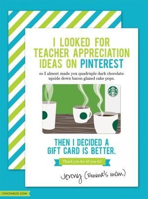 Free teacher appreciation cards from Chickabug - cute and funny! : )