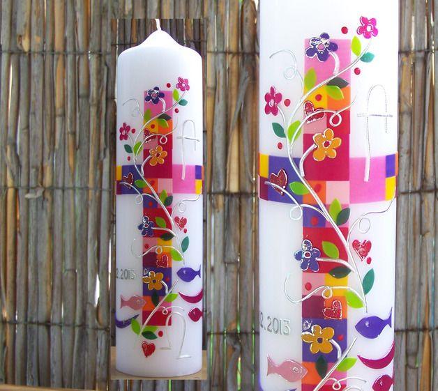 Taufkerzen - Taufkerze Patchwork Modell Kim - ein Designerstück von Lebenslichter bei DaWanda