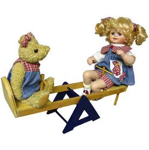 Life Like Baby Doll Birthday Gift [GD34 11N244P] by CD&G. $15.73. Our Life Like Baby Doll Birthday Gift is a Little Girl Doll on a Teeter Totter with her small teddy bear friend. The setting baby doll is 9 inches tall. These Unique Gift Ideas For Girls wood Teeter Totter is 13¼ inches long and 4 inches wide. It stands 10 inches on the end where the little girl is sitting. The little girl Baby Doll has shoulder length curly blonde Natural Doll Hair pig tails held by red and blue ...
