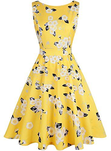 69d585621dee IHOT Vintage 1950s Summer Floral Garden Party Picnic Dress Party Cocktail  Dress for Women M Yellow White    Learn more by visiting the image link.
