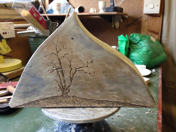Tree and crows (work in progress), ceramic
