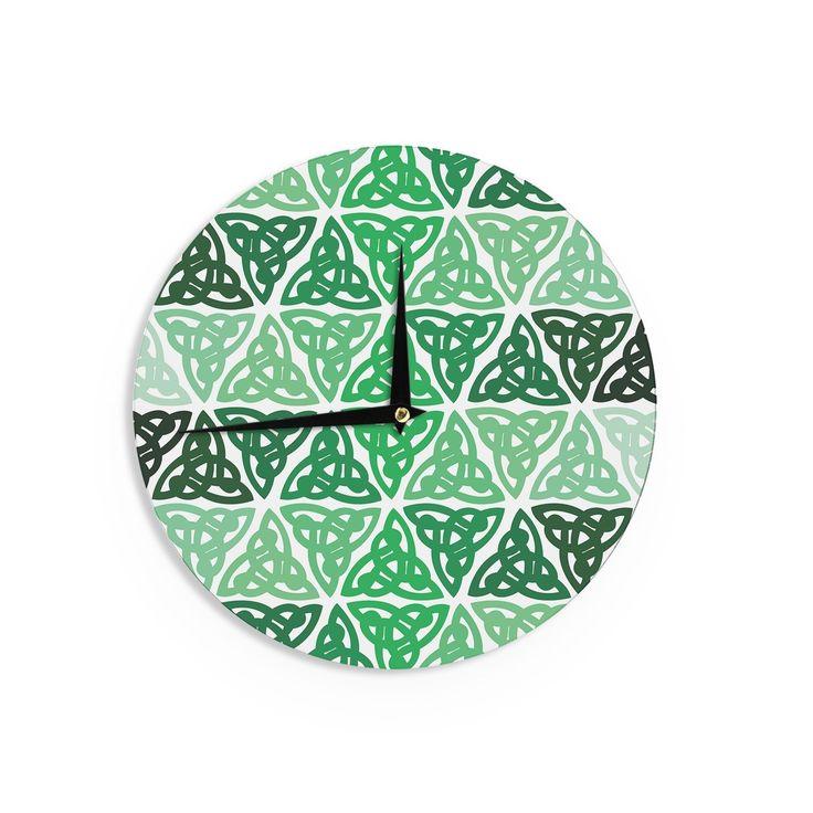 Kess InHouse Kess Original 'Celtic Knot ' Forest Mint Wall Clock