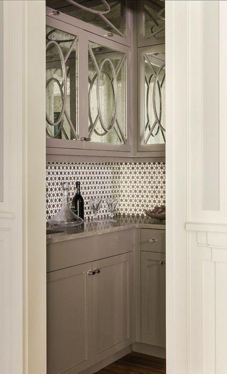 Gray Butlers Pantry Mirror Fronted Cabinet Backsplash Tile Design Inspiration Fresh Take