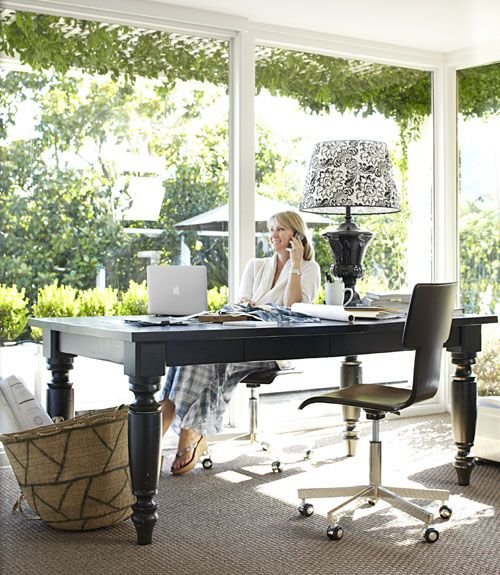 table as a desk and a supersized lamp. This could be a good #home #office design, right? @Rachel Martino