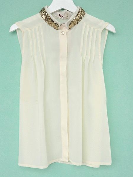 Beige High Neck Sleeveless Single Breasted Pleated Shirt