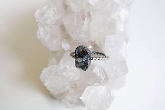 Smokey Grey Raw Tibetan Quartz Ring