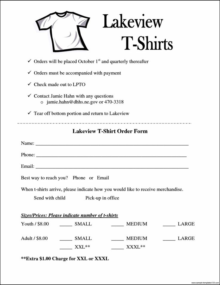 The exciting Simple T Shirt Order Form Template Microsoft
