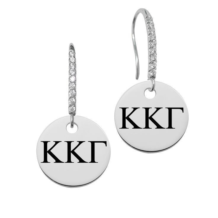 Kappa Kappa Gamma Greek Letters Round Charm and CZ Earring in Solid Sterling Silver