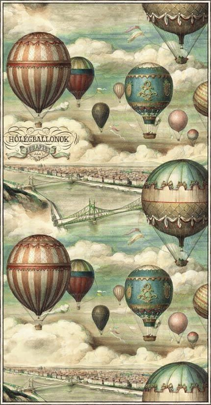vintage hotair balloons in muted colors, ad