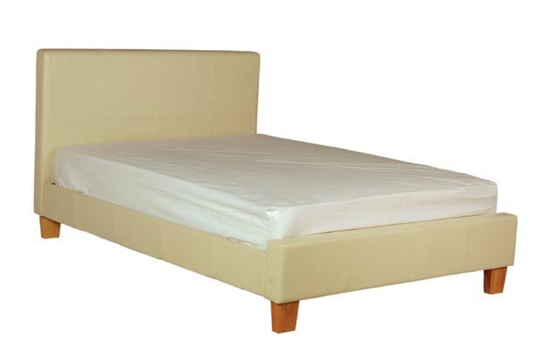 Bedworld Discount Stanton Cream Faux Leather Bed Frame Double 135cm Stanton Cream Faux Leather Bed Frame is a cream finish faux leather bed available in 4'6ft and 5ft. Part of our faux leather beds collection it comes with wooden slats to support any type of mattress  http://www.comparestoreprices.co.uk/bedroom-furniture/bedworld-discount-stanton-cream-faux-leather-bed-frame-double-135cm.asp