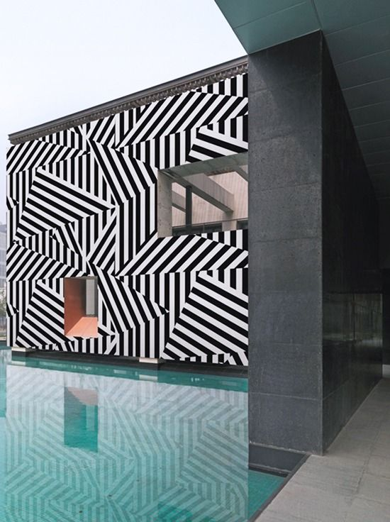 Wonderful exterior. Zig zag by the poolside #Architecture
