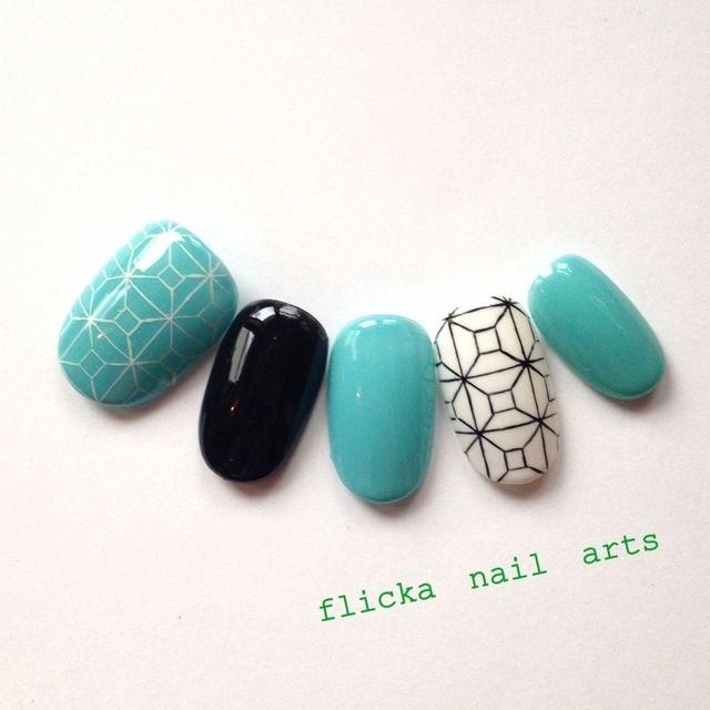 ネイル 画像 flicka nail arts  415814 青 ソフトジェル ハンド