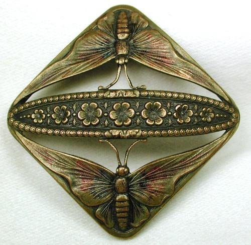 ButtonArtMuseum.com - Gorgeous Antique Pierced Brass Button Twin Butterfly Flowers Design
