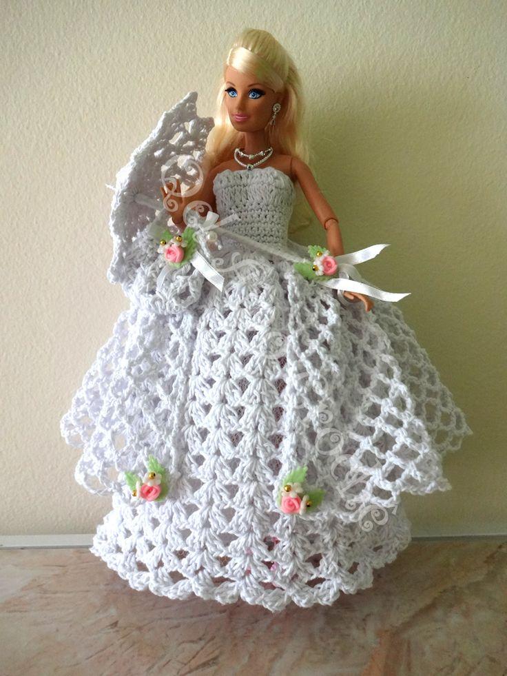 #Vestido #Dress #Crochet  #Sombrinha #Umbrella #Barbie #Doll #RaquelGaucha