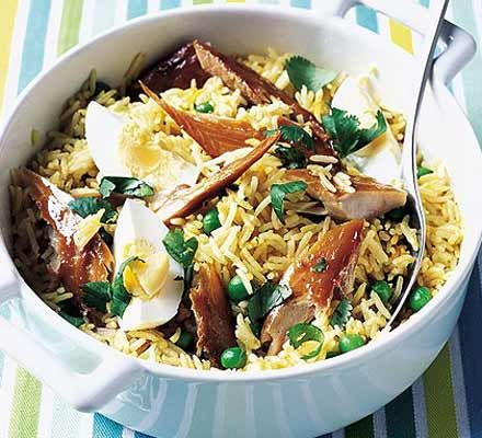 20-minute rice supper - with smoked trout rather than mackerel