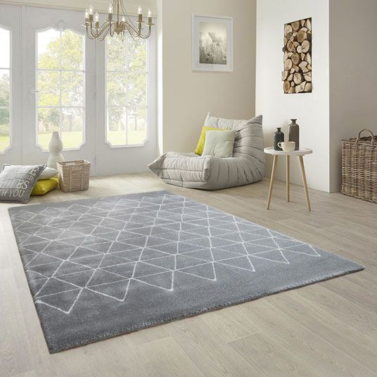 Tapis géométrique triangle - gris foncé - tous les tapis déco