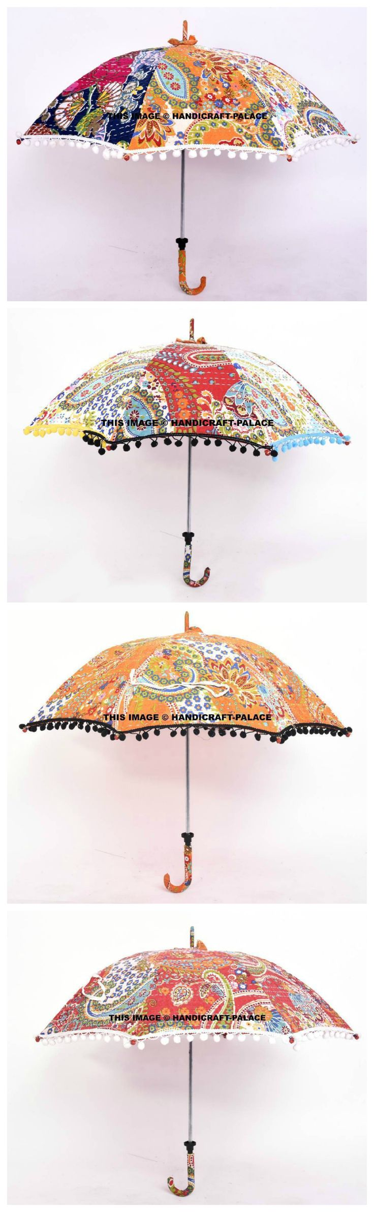 Wholesale Lot 10 PC Traditional Indian Kantha Embroidered Sun Umbrella Parasols. Beautiful Indian Cotton Fabric Kantha Work umbrella is handcrafted by village artists in Rajasthan .Umbrella has colored Pom Pom Lace. #traditional #ethnic #Indian #India #love #beauty #hippie #gypsy #boho #bohemian #party #wedding #decor #ideas #colourful #wedding #decor #idea #royal #India #handmade #love #life #theme #party #Free #shipping #handicraftpalace