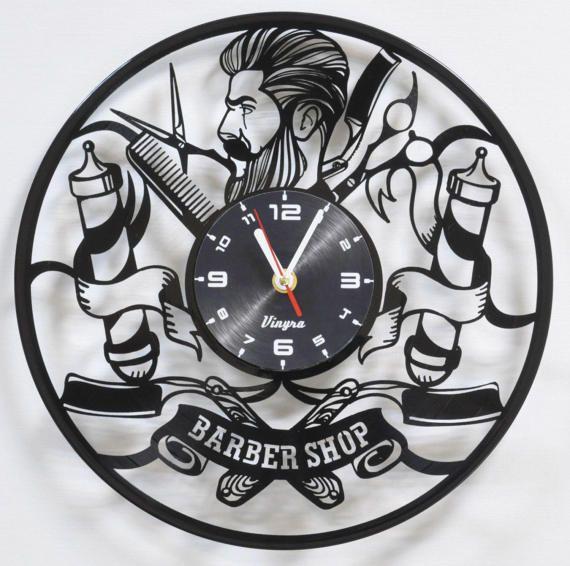 Peluquería de diseño: diseño único, que se adapta ideal para tiendas de peluquero, peluquería, salón de belleza o incluso como decoración de la tienda de peluquería o decoración a la casa del peluquero o styler! INCREÍBLE reloj: reloj elegante inusual es corte de disco de 12 pulgadas de