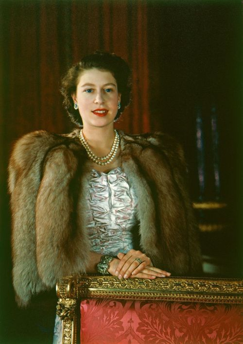 Young and beautiful Queen Elizabeth II in color.