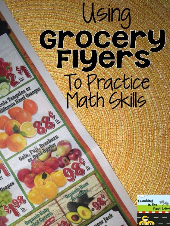 Using Grocery Flyers To Practice Math Skills.  There are some really well thought out ways to use these ads in your math lesson.  Make real-life connections.  A well done post that won't take hours to read.  See more at:  http://corkboardconnections.blogspot.com/2015/04/using-grocery-flyers-to-practice-math.html