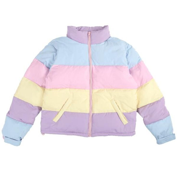 C17-New cute cotton women short section Loose thick coat jacket South Korea rainbow hit color warm students bread clothes
