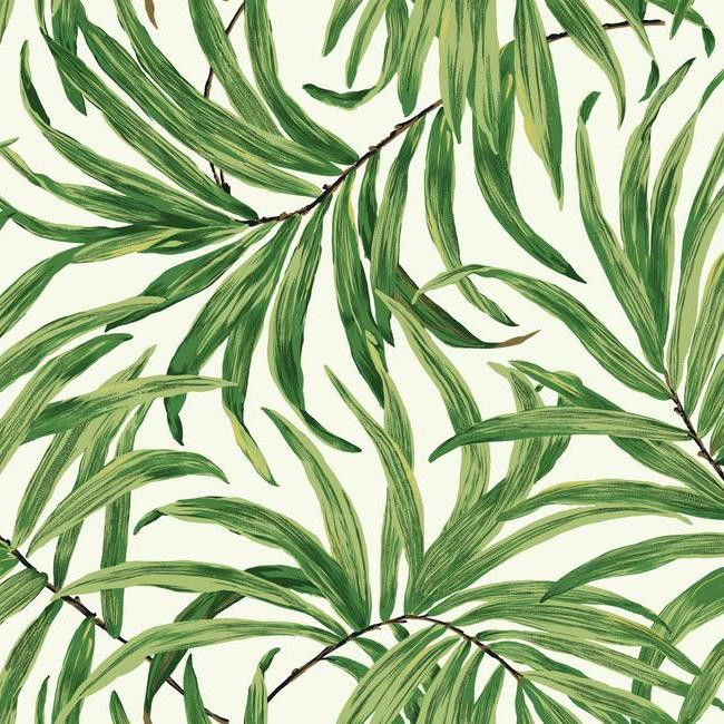 Bali Leaves Wallpaper in Green and White design by York Wallcoverings