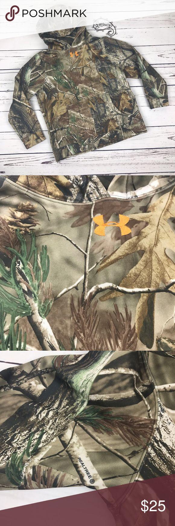 Under Armour Camouflage Real Tree Hoodie Under armpit youth medium camo real tree Hoodie! Under Armour Shirts & Tops Sweatshirts & Hoodies
