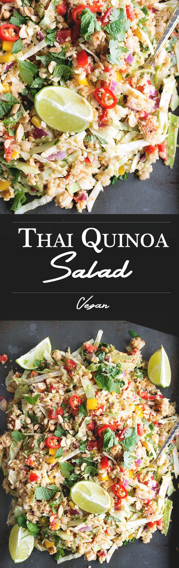 Delicious, Healthy Thai Quinoa Salad with Lemongrass Peanut Dressing. Vegan/Gluten Free.