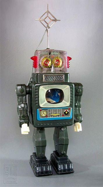 Alps TELEVISION SPACEMAN vintage tin robot by LUNZERLAND., via Flickr