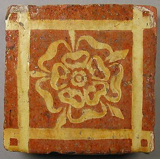 Two-Colored Tile, made in the Midlands, England; circa late 14th-early 15th centuy