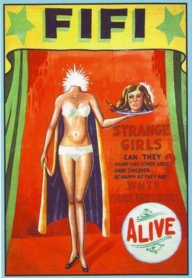freak posters | Vintage Circus Freak Show Poster Fifi The Headless Woman A3 Reprint