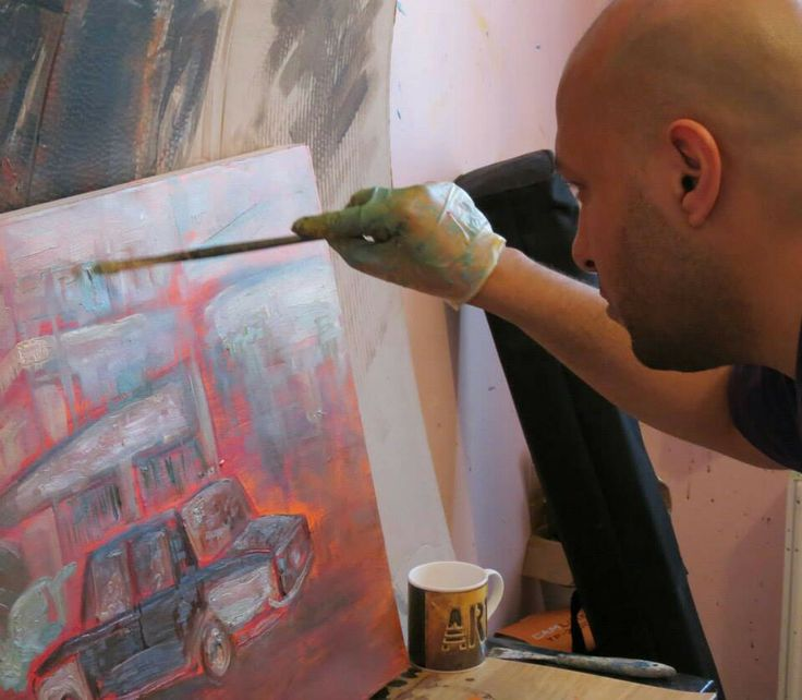 Cairo Taxi in progress...Oil on canvas...
