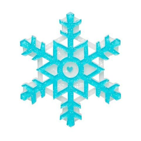 """Erstwilder Collectable Seasonal Symmetry Brooch. """"Can you guess which one of these snowflake facts is really a myth? 1.No two snowflakes are alike or 2.Near fire they melt."""""""