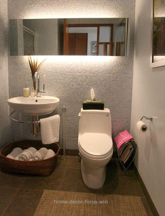 Terrific beautiful small bathroom Asian/minimalism grey texture walls, mirror with amazing lighting. floating pedestal-like basin with wrap around towel bar and towel storage basket  The post  b ..
