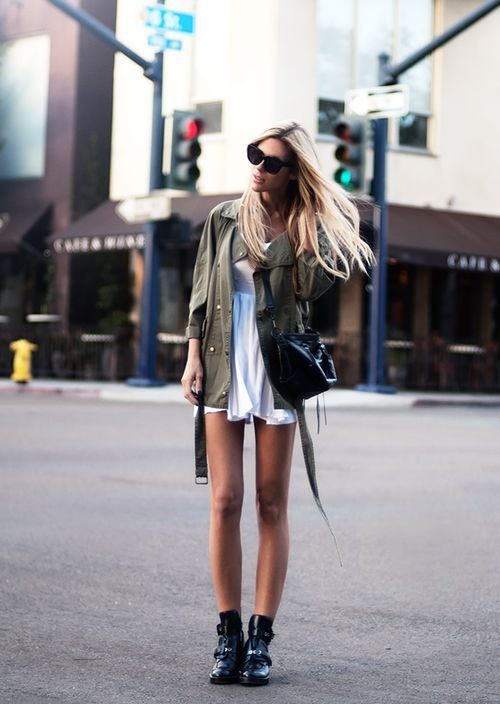 Sweet white dress with an army surplus jacket and edgy booties