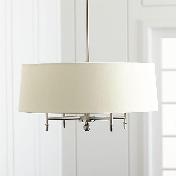 Crate and Barrel - Arlington Nickel Chandelier Designed by Blake Tovin with dining in mind, this sophisticated pendant mixes a soft linen-toned shade with brushed nickel accents for an updated take on a classic look. A sleek metal rod, in your choice of three lengths, suspends the four-bulb chandelier and conceals its cord.