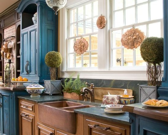 love the blue wash on the cabinets farm house kitchen