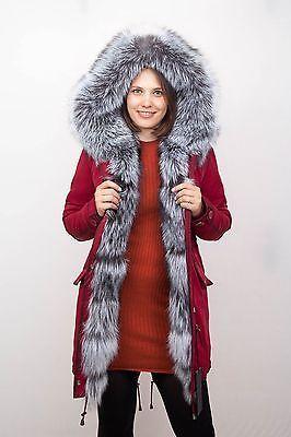 Новая женская куртка парка военный серебряный реальный мех FOX не норка зимняя парка