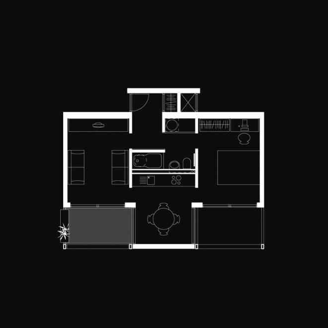 Moho, Manchester, 2006 - ShedKM.  Plan of the 'large' 1 bed flat unit that comes in under 40m2.